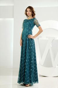 Empire Scoop Short Sleeves Teal Lace Mother of Bride Dresses