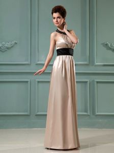 Satin Floor-length Halter Champagne Dresses for Bride Mother