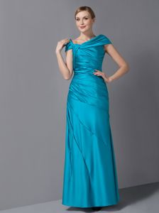Teal Ruched Long Mother Bride Dresses with Asymmetrical Neck