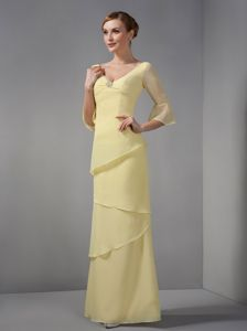 Cheap V-neck Half Sleeves Yellow Long Mother Bride Dresses