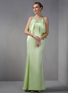 Plus Size Scoop Mermaid Yellow Green Mother of Bride Dresses