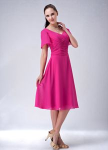 New Ruched A-line V-neck Tea-length Mother of the Groom Dresses in Hot Pink