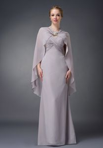 New Arrival Ruched V-neck Floor-length Mother of the Groom Dresses in Grey