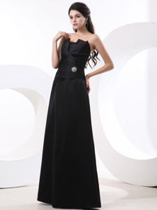 New Ruched A-line Strapless Floor-length Mother of the Groom Dresses in Black