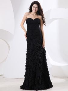 Ruched Sweetheart Floor-length Black Mother of the Groom Dresses with Ruffles