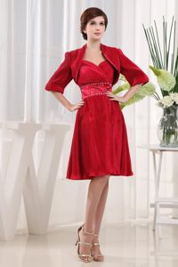 Ruched Sweetheart Knee-length Wine Red Mother Bride Dresses