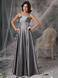 Modest Strapless Floor-length Silver Mother of the Groom Dresses with Beading