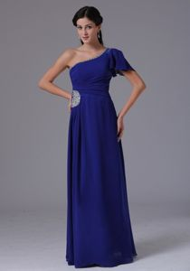 Beaded One Shoulder Floor-length Mother of the Groom Dresses in Peacock Blue