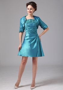 Beaded and Ruched Mini-length Mother of the Groom Dresses in Teal with Straps