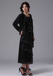 Hot Sale Black Beaded Ankle-length Mother of the Groom Dresses with Straps