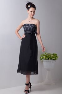 New Strapless Empire Tea-length Black Mother of the Groom Dresses with Sash