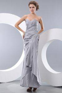 Unique Ruched Sweetheart Ankle-length Grey Mother Bride Dress