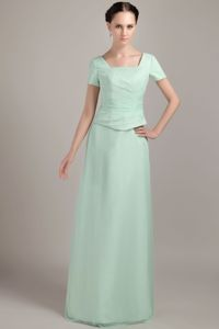 Square Short Sleeves Floor-length Mother of the Groom Dresses in Apple Green