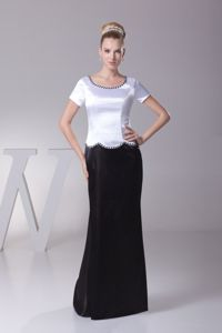 Black and White Scoop Short Sleeves Floor-length Mother of the Bride Dresses
