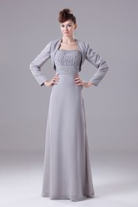 New Ruched Strapless Floor-length Grey Dresses For Bride Mother