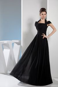 Halter Off The Shoulder Floor-length Black Mother Bride Dresses
