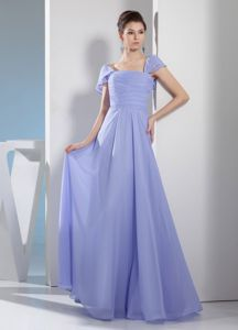 Gorgeous Ruched Square Cap Sleeves Mother Bride Dress in Lilac