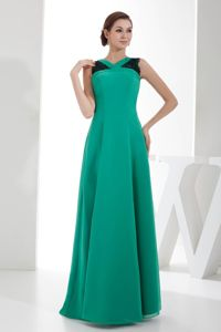 Turquoise V-neck Floor-length Lace Chiffon Mother Bride Dress