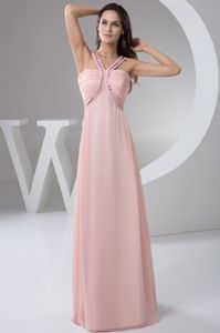 New Ruched Straps Floor-length Mother Bride Dress in Baby Pink
