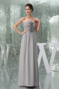 Ruched Strapless Floor-length Grey Mother of the Bride Dresses with Flowers