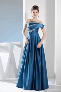 Beaded Teal Off The Shoulder Floor-length Mother Bride Dresses