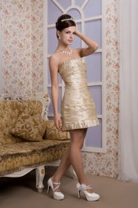 Beaded Strapless Mini-length Taffeta Mother of the Bride Dresses in Champagne