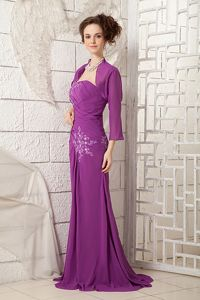Bright Purple Mother Bride Dresses One Shoulder Style with Appliques