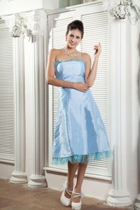 Baby Blue Mother of the Bride Dress Tea-length Style with Ruche