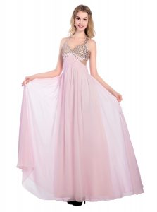 Trendy Sleeveless Floor Length Beading and Bowknot Criss Cross Mother of Bride Dresses with Lilac