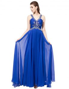 Perfect Royal Blue Mother Of The Bride Dress Prom and Party and For with Beading V-neck Sleeveless Sweep Train Criss Cross