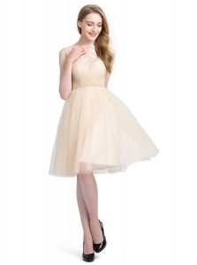 Clasp Handle Tulle Sleeveless Knee Length Mother of Bride Dresses and Beading and Lace