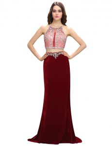 Scoop Sleeveless Mother of Bride Dresses With Train Sweep Train Beading and Appliques Burgundy Elastic Woven Satin