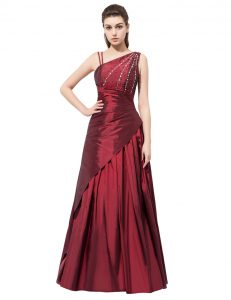 Colorful Burgundy Asymmetric Neckline Beading and Bowknot Mother Of The Bride Dress Sleeveless Side Zipper