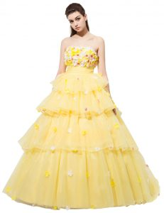 Best With Train Yellow Mother of Bride Dresses Organza Sleeveless Ruffled Layers and Hand Made Flower