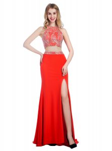 With Train Criss Cross Mother Of The Bride Dress Coral Red for Prom and Party with Beading Sweep Train