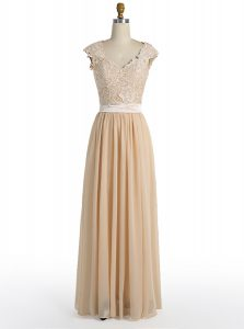 Attractive V-neck Cap Sleeves Mother of the Bride Dress Floor Length Lace Champagne Chiffon