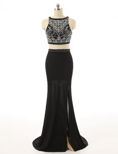 Black Zipper Bateau Beading Mother Of The Bride Dress Chiffon Sleeveless Sweep Train