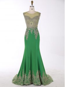 Designer Mermaid Green Scoop Neckline Beading and Appliques Mother Of The Bride Dress Sleeveless Zipper