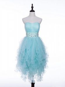 Wonderful Light Blue Zipper Sweetheart Beading Mother Of The Bride Dress Tulle Sleeveless