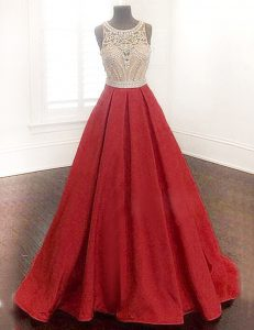 Vintage Scoop Red A-line Beading Mother Of The Bride Dress Zipper Satin Sleeveless Floor Length