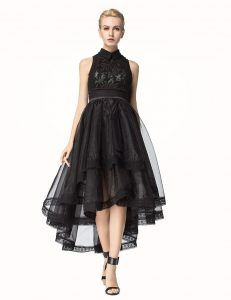 Black A-line High-neck Sleeveless Tulle Asymmetrical Zipper Lace Mother Dresses
