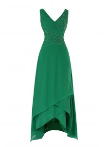Affordable Green Chiffon Zipper V-neck Sleeveless Asymmetrical Evening Dresses Beading and Ruching
