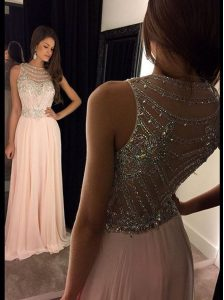 Scoop Asymmetrical Side Zipper Mother of the Bride Dress Pink for Prom with Beading