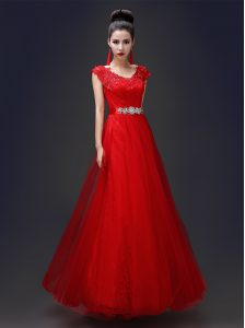 Scoop Floor Length Red Mother Of The Bride Dress Tulle and Lace Sleeveless Beading and Appliques