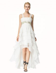 Smart White Lace Up Straps Beading Mother Dresses Organza Sleeveless