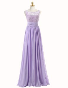 Beauteous Chiffon Scoop Sleeveless Sweep Train Zipper Lace Mother Of The Bride Dress in Lavender