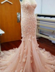 Mermaid Tulle Sweetheart Sleeveless Chapel Train Zipper Appliques Mother Of The Bride Dress in Baby Pink