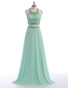 Modern Apple Green Chiffon Criss Cross Scoop Sleeveless With Train Mother Of The Bride Dress Sweep Train Beading