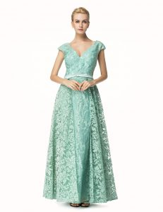 Nice Turquoise A-line Pleated Mother of the Bride Dress Zipper Lace Cap Sleeves