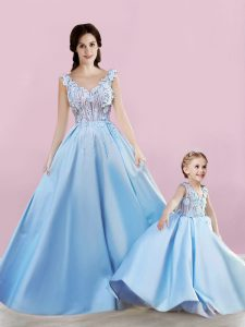 Fitting Baby Blue Lace Up Appliques Mother of Bride Dresses Sleeveless